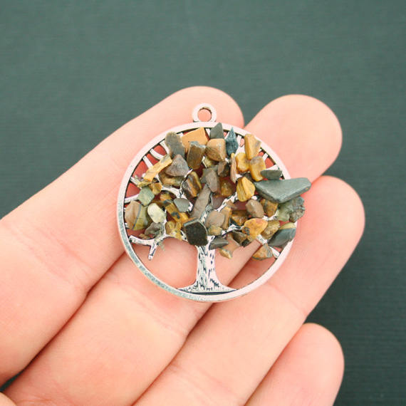 Natural Tiger Eye Tree of Life Gemstone Pendant - SC7223