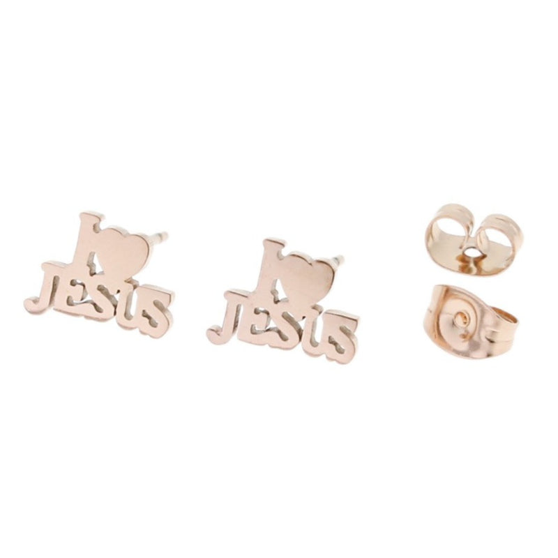 Rose Gold Stainless Steel Earrings - I Love Jesus Studs - 10mm x 7mm - 2 Pieces 1 Pair - ER017