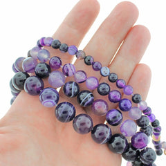 Round Natural Lace Agate Beads 6mm -12mm - Choose Your Size - Amethyst Purple Marble - 1 Full 15.5