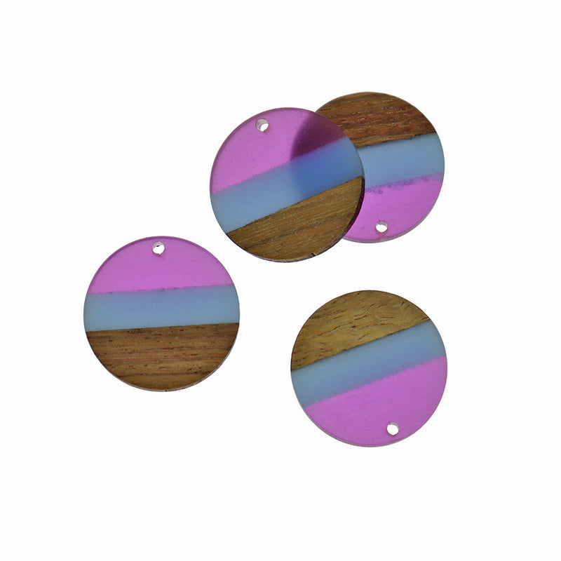 Round Natural Wood and Purple & Blue Resin Charm - Z1395