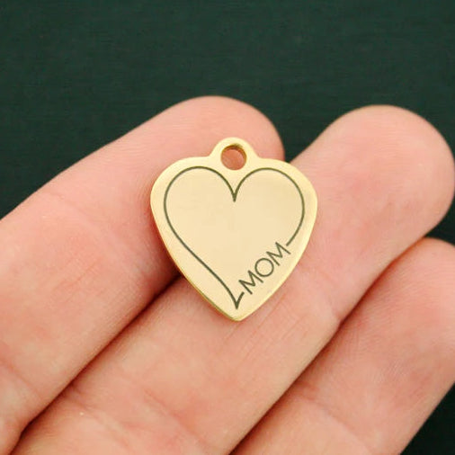 Mom Gold Stainless Steel Charm - Exclusive Line - Quantity Options - BFS2737GOLD