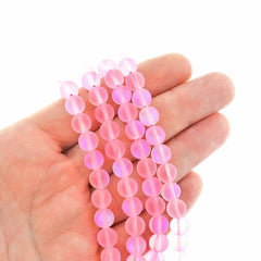 Round Glass Beads 8mm - Frosted Electroplated Imitation Pink Moonstone - 1 Strand 48 Beads - BD299