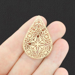 4 Filigree Teardrop Gold Tone Charms 2 Sided - GC1446