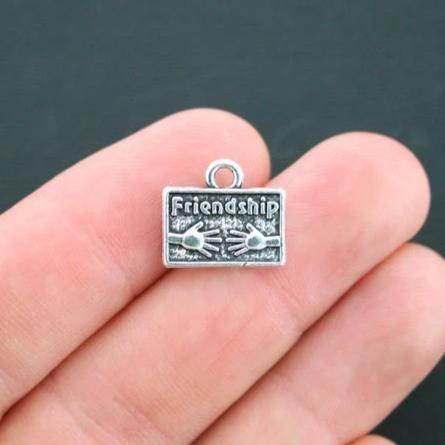 BULK 25 Friendship Antique Silver Tone Charms 2 Sided - SC2509