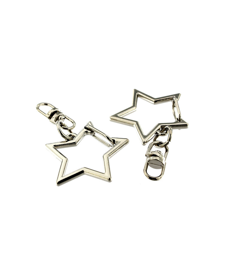 Star Shaped Silver Tone Key Rings with Attached Swivel Clasp - 49mm - 4 Pieces - Z1055