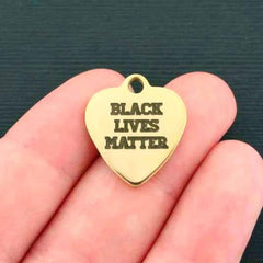 Activist Gold Stainless Steel Charm - Black Lives Matter - Exclusive Line - Quantity Options - BFS1308GOLD