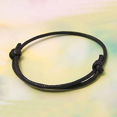 Black Wax Cord Adjustable Bracelet - 40-80mm - 4 Bracelets - N072