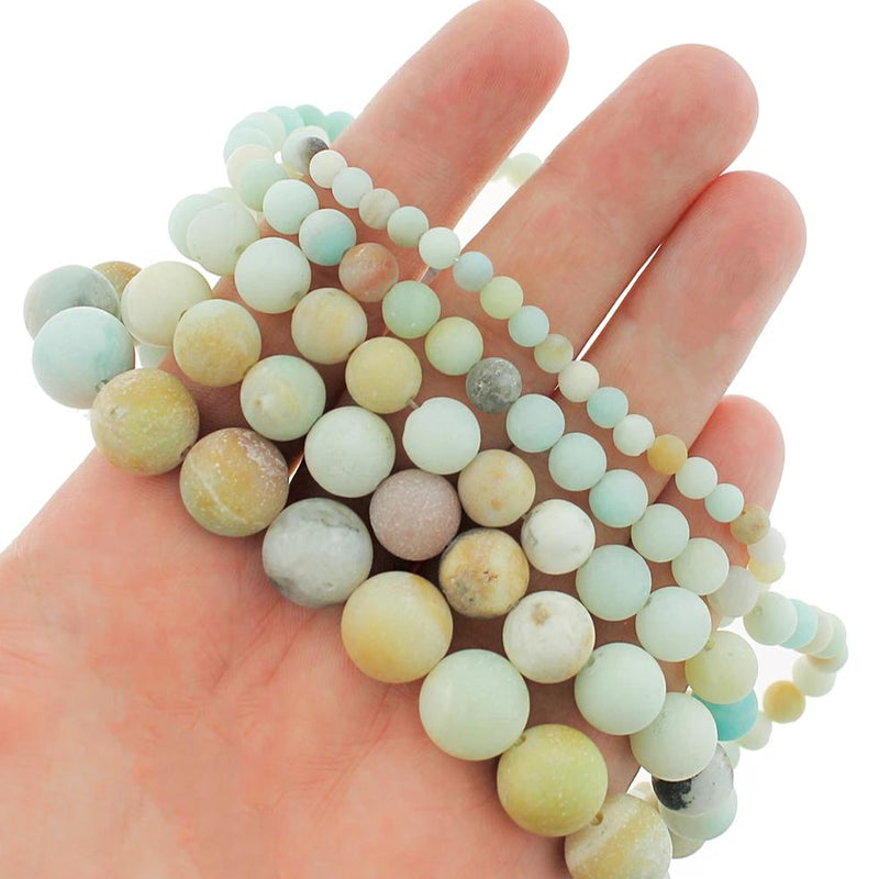 "Round Natural Amazonite Beads 4mm -12mm - Choose Your Size - Frosted Beach Tones - 1 Full 15.5"" Strand - BD1601"