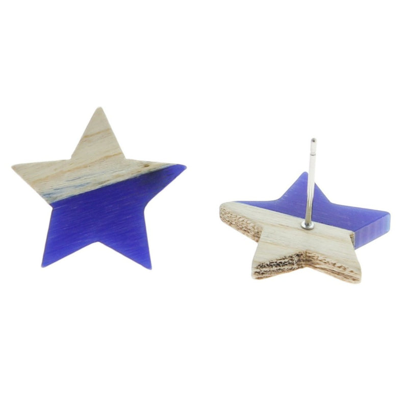 Wood Stainless Steel Earrings - Blue Resin Star Studs - 18mm x 17mm - 2 Pieces 1 Pair - ER137