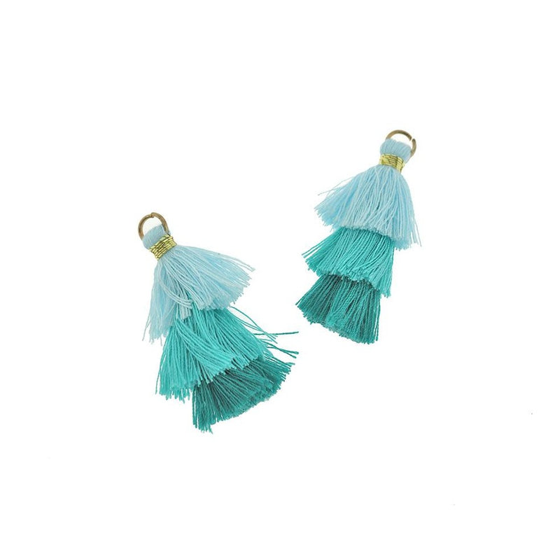 Polycotton Tassel 40mm - Blue Tones - 4 Pieces - Z1212