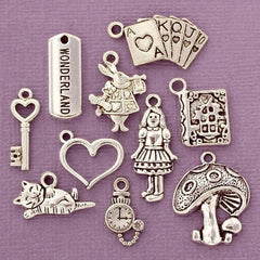 Alice in Wonderland Charm Collection Antique Silver Tone 10 Charms - COL273