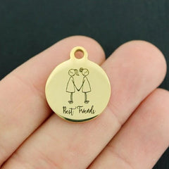 Friendship Gold Stainless Steel Charm - Best Friends - Exclusive Line - Quantity Options - BFS4041GOLD