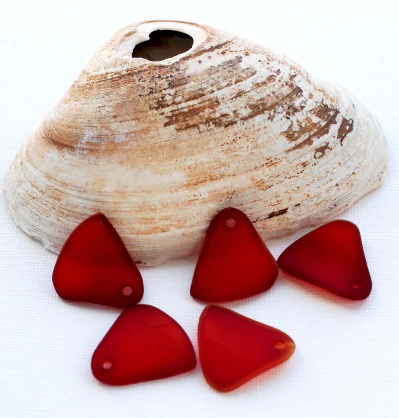 Triangle Sea Glass Charm - U036