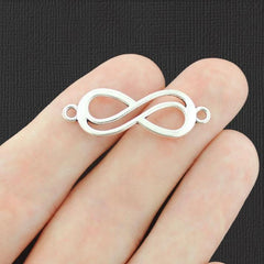 10 Infinity Connector Antique Silver Tone Charms - SC6687
