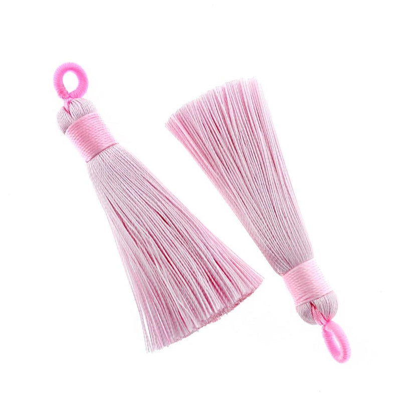Polyester Tassels with Attached Loop - Baby Pink - 2 Pieces - TSP026