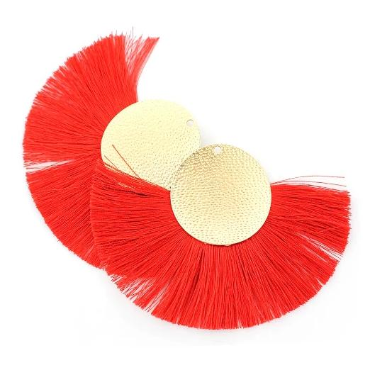 Polyester Fan Tassels  - Red and Gold Tone - 2 Pieces - Z851