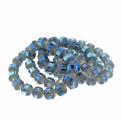 Round Glass Beads 10mm - Frosted Metallic Light Blue - 1 Strand 72 Beads - BD1496