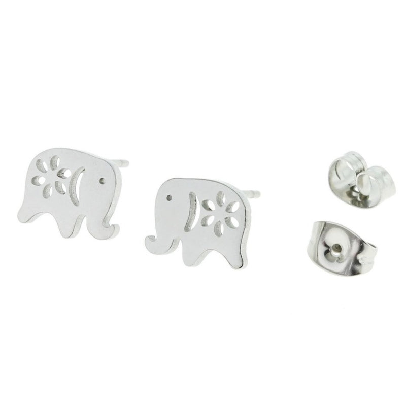Stainless Steel Earrings - Elephant Studs - 9mm x 8mm - 2 Pieces 1 Pair - ER039