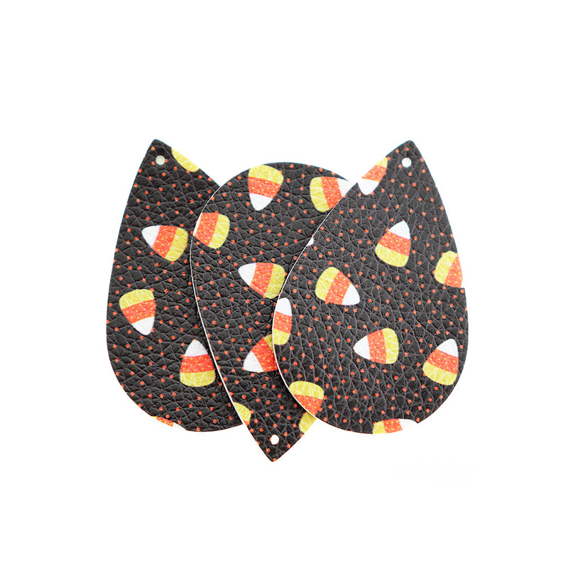 Imitation Leather Teardrop Pendants - Black Candy Corn - 4 Pieces - LP114