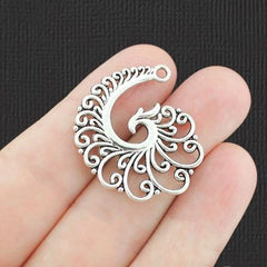 5 Filigree Spiral Silver Charms 2 Sided - SC8067