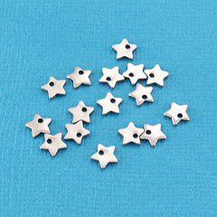 Silver Tone Star Chain Drops - 6mm x 6mm - 10 Pieces - MT216