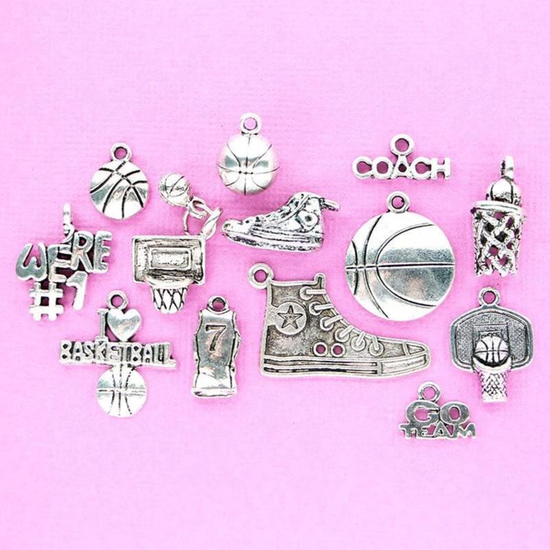 Basketball Charm Collection Antique Silver Tone 13 Charms - COL070