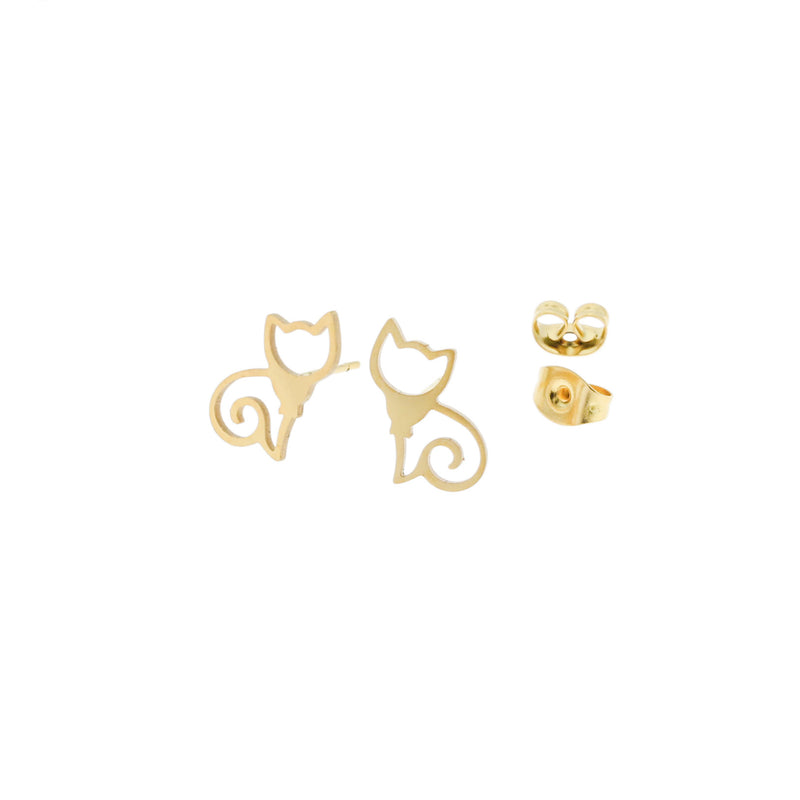 Gold Stainless Steel Earrings - Cat Studs - 13mm x 8mm - 2 Pieces 1 Pair - ER057