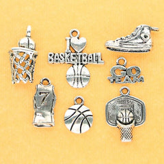Basketball Charm Collection Antique Silver Tone 7 Different Charms - COL064