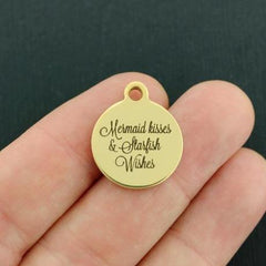 Beach Gold Stainless Steel Charm - Mermaid Kisses and Starfish Wishes - Exclusive Line - Quantity Options - BFS3677GOLD