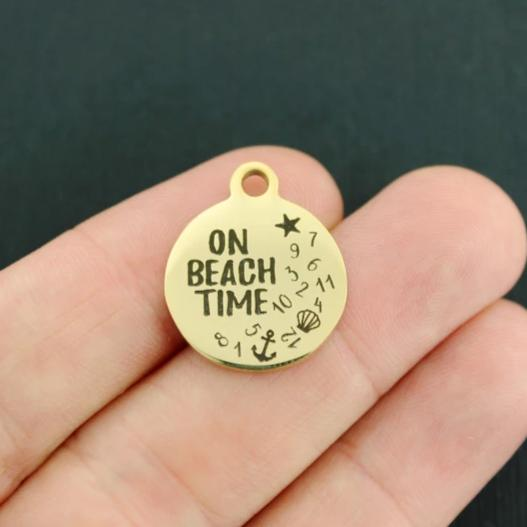 Beach Gold Stainless Steel Charm - On Beach Time - Exclusive Line - Quantity Options - BFS4061GOLD