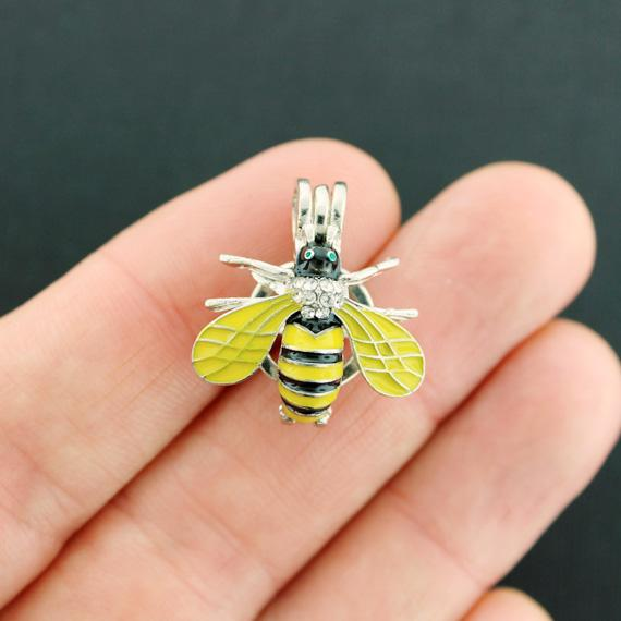 Bee Bead Cage Antique Silver Tone and Enamel Charm With Rhinestones 3D - SC7909