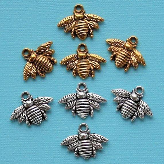Bee Charm Collection Antique Silver and Gold Tone 8 Charms - COL288