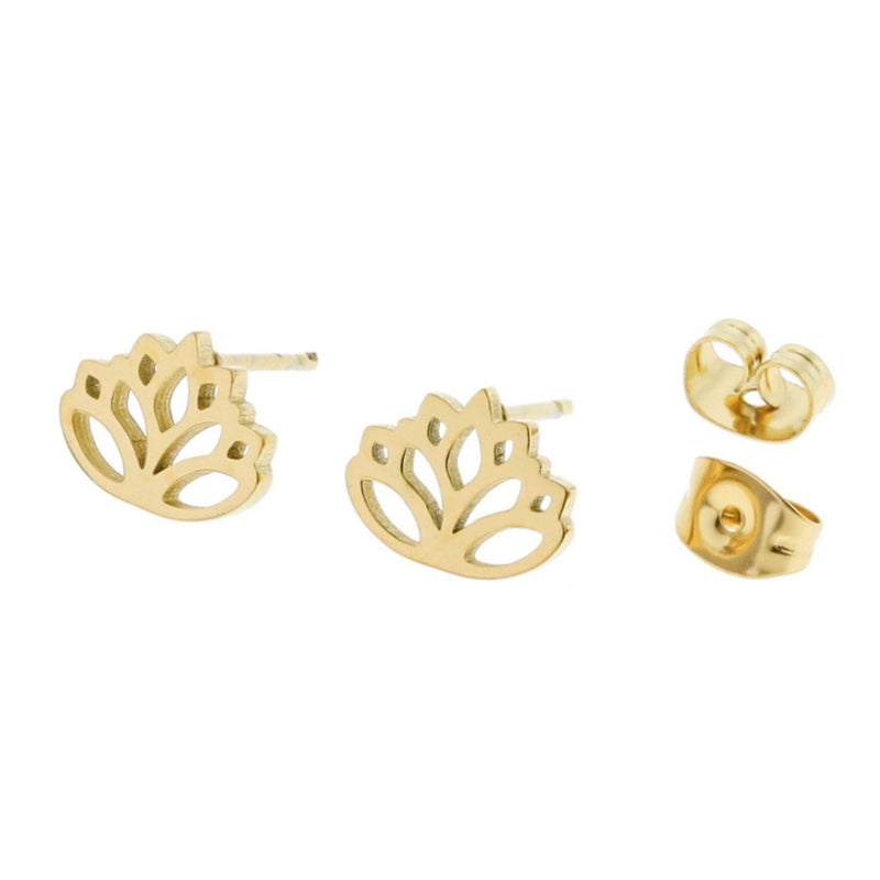 Gold Stainless Steel Earrings - Lotus Studs - 10mm x 8mm - 2 Pieces 1 Pair - ER051
