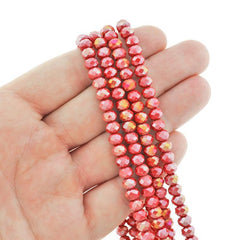 Faceted Glass Beads 6mm x 4mm - Electroplated Crimson Red - 1 Strand 95 Beads - BD2358