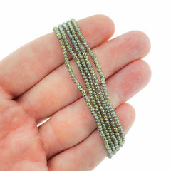 Faceted Glass Beads 2.5mm x 1.5mm - Electroplated Sea Green - 1 Strand 197 Beads - BD1442
