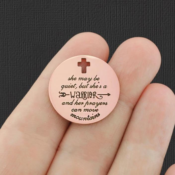 Rose Gold Stainless Steel Charm BFS2060ROGOLD strong courageous Joshua 1:9