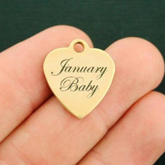 Birthday Gold Stainless Steel Charm - January Baby - Exclusive Line - Quantity Options - BFS2635GOLD
