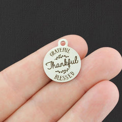 Blessed Stainless Steel Charm - Thankful Grateful Blessed - Exclusive Line - Quantity Options - BFS4850