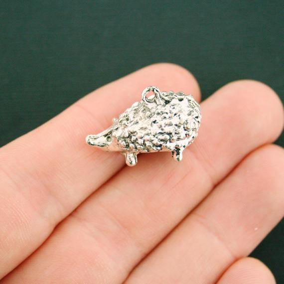 3 pcs Antique silver 3D hedgehog charms size 23x12mm jewellery making