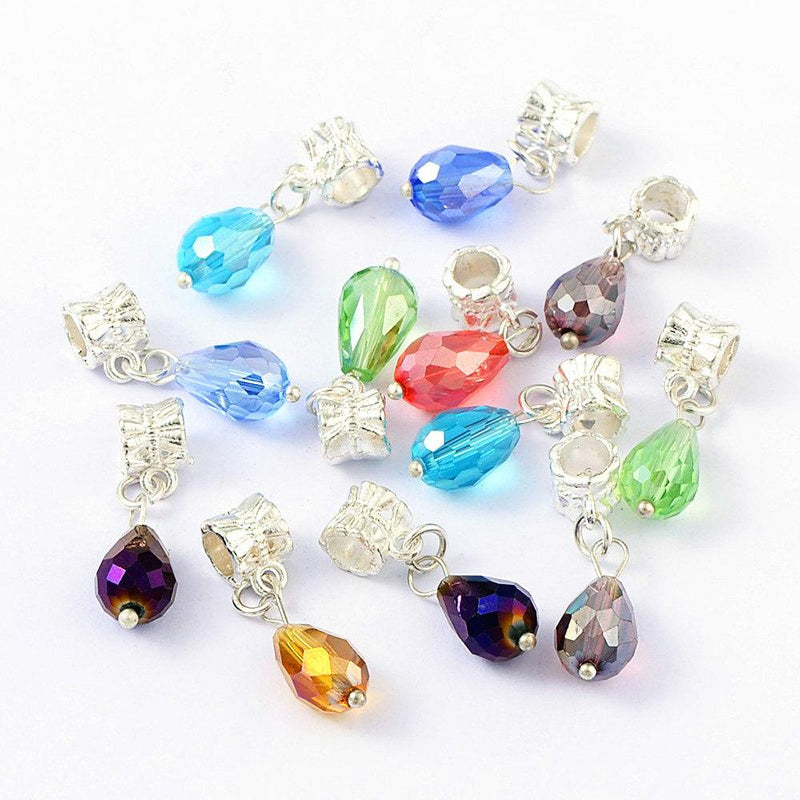 25 Assorted Drop Bead Silver Tone Charms – Z104
