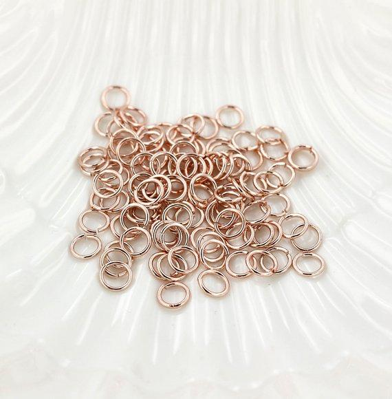 Rose Gold Tone Jump Rings 6mm x 0.8mm - Open 20 Gauge - 300 Rings - J112
