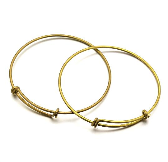 Antique Bronze Tone Adjustable Bangle - 70mm - 5 Bangles - N125