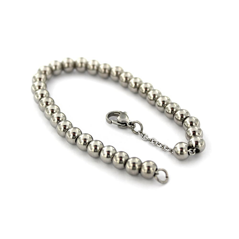 "Stainless Steel Cable Chain Bracelet With Spacer Beads 7.75""- 2.2mm - 5 Bracelets - N094"