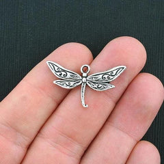 BULK 50 Dragonfly Antique Silver Tone Charms - SC3501