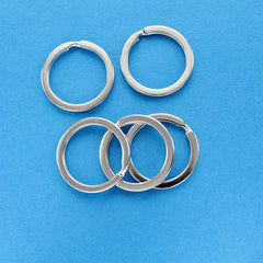 Silver Tone Key Rings - 25mm - 50 Pieces - Z068