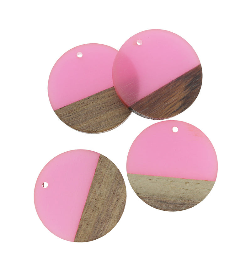 2 Round Natural Wood and Resin Charms - Z1029