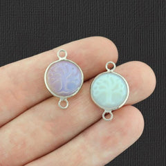 Natural Opalite Tree of Life Gemstone Pendant Connector - GEM009