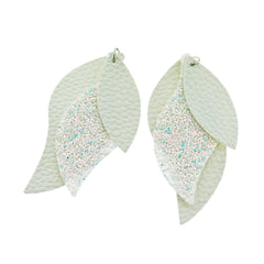 Imitation Leather Marquise Pendants - Pearl White Sequin Glitter 3 Piece Set - 2 Sets - LP001