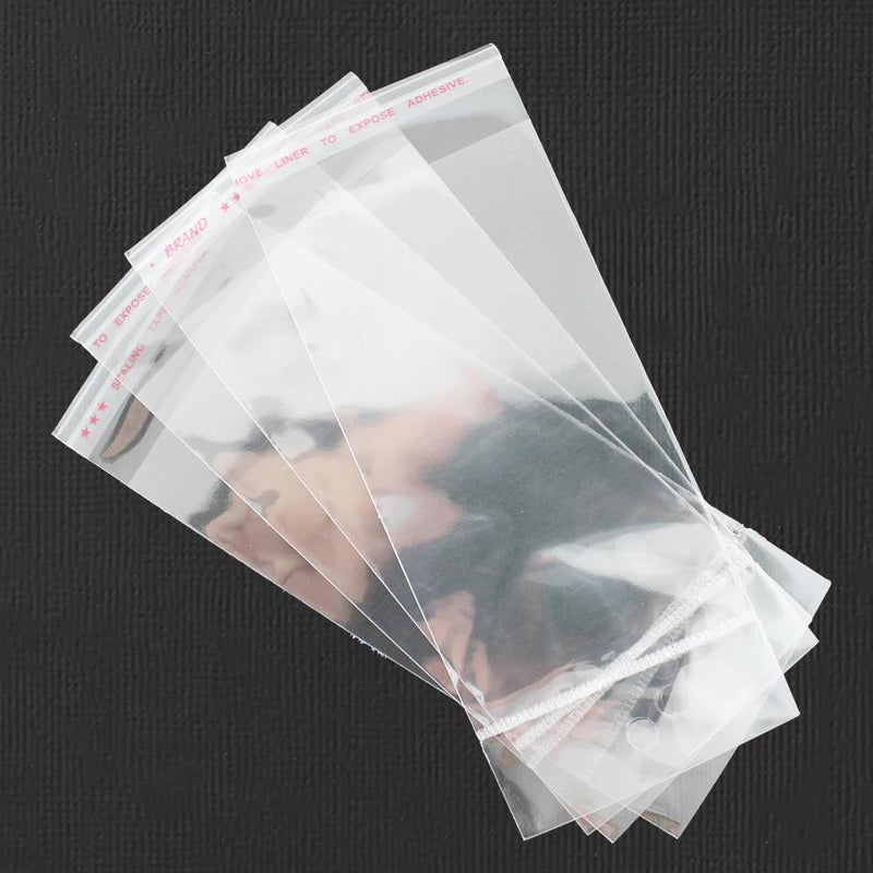 200 Cellophane Bags 150mm x 60mm Self Adhesive Seal - With Hole - TL023