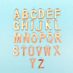 26 Alphabet Letter Rose Gold Tone Charms - 1 Set - ALPHA3400